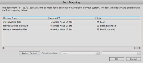 Flash Font Mapping