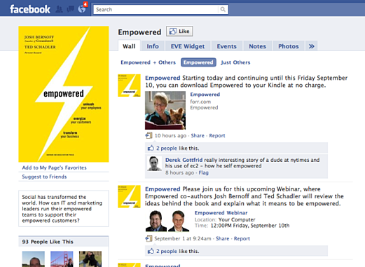 Empowered Facebook Page Promoting Free Kindle Book