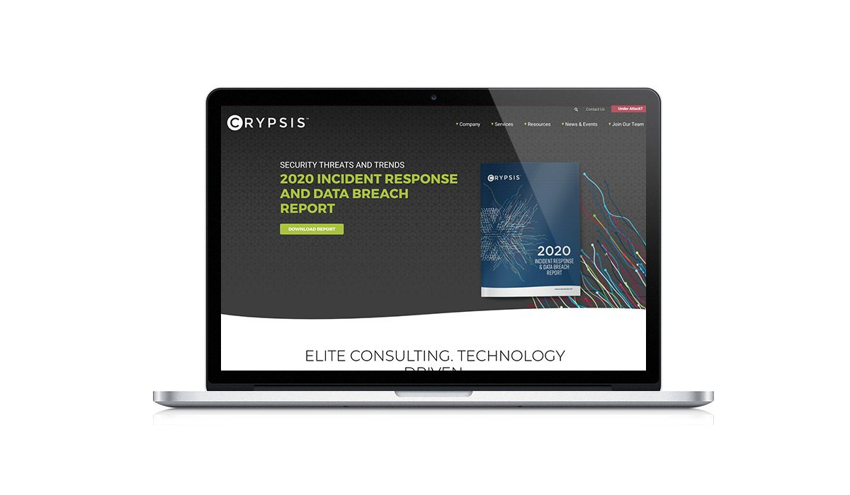 HubSpot user, Crypsis' homepage after Stream Creative redesigned it using HubSpot's CMS Hub