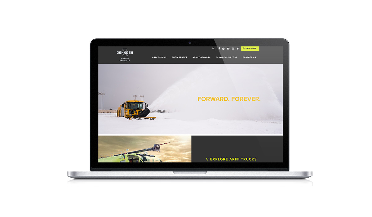 HubSpot user, Oshkosh Airport's homepage after Stream Creative redesigned it using HubSpot's CMS Hub